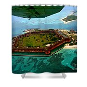 Buzzing The Dry Tortugas Shower Curtain