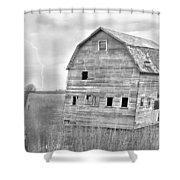 Bw Rustic Barn Lightning Strike Fine Art Photo Shower Curtain
