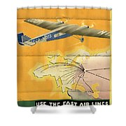 By Air To Ussr With The Soviet Union's Chief Cities - Vintage Poster Folded Shower Curtain