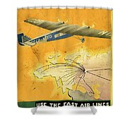 By Air To Ussr With The Soviet Union's Chief Cities - Vintage Poster Vintagelized Shower Curtain