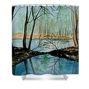 By River's Edge Shower Curtain