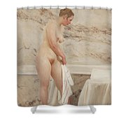 By The Bath Tub Shower Curtain