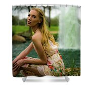 By The Fountain Shower Curtain
