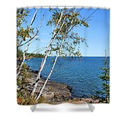 By The Shores Of Gitche Gumee Shower Curtain by Kristin Elmquist