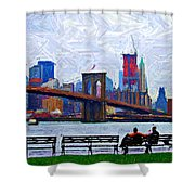 By The Water Too Sketch Shower Curtain
