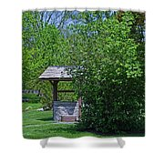 By The Wishing Well-horizontal Shower Curtain