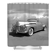 Bygone Era - 1941 Cadillac Convertible In Black And White Shower Curtain