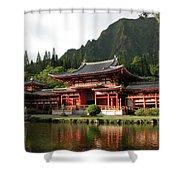 Byodo-in Temple, Oahu, Hawaii Shower Curtain by Mark Czerniec