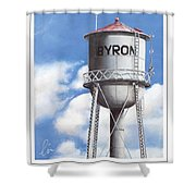 Byron Water Tower Poster Shower Curtain