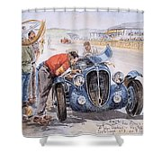 c 1949 the delahaye 135 s driven by giraud and gabantous Roy Rob Shower Curtain