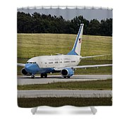 C-40 Clipper Taxiing At Dresden Shower Curtain