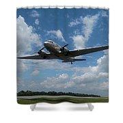 C-47 Dakota Low Pass Over Jekyll Island Airport. 2015 Shower Curtain