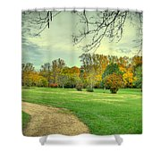 Cabin And Autumn Trees Shower Curtain