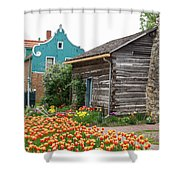 Cabin By The Tulips Shower Curtain