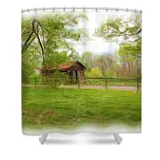 Cabin House Series 1360 Shower Curtain