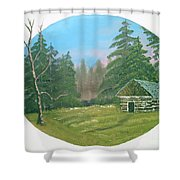 Cabin In The Meadow Shower Curtain