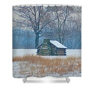 Cabin In The Snow - Valley Forge Shower Curtain