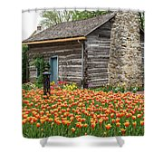 Cabin In The Tulips Shower Curtain