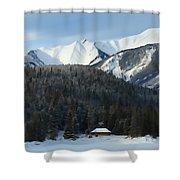 Cabin On Frozen Lake Shower Curtain
