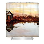 Cabin On The Lake Shower Curtain