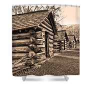 Cabins At Valley Forge In Sepia Shower Curtain