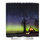 Cabins Glow Shower Curtain