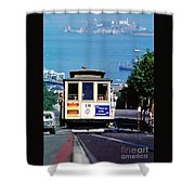 Cable Car 18 Heading Up The Hyde Street Line Shower Curtain