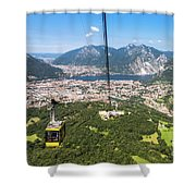 Cable Car Above The City Of Lecco Shower Curtain