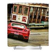 Cable Car Meets Ferrari Shower Curtain