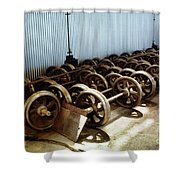Cable Car Wheels, Repair Shop Shower Curtain