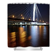 Cable-stayed Bridge Prins Clausbrug In Utrecht At Night 22 Shower Curtain