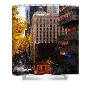 Cablecar On San Francisco California Street  . Painterly . 7d7176 Shower Curtain by Wingsdomain Art and Photography