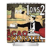 Cacao Karstel - Vintage Cacao Advertising Poster Shower Curtain