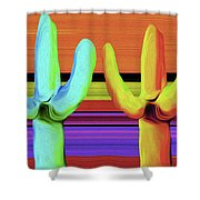 Cacti Green By Nixo Shower Curtain
