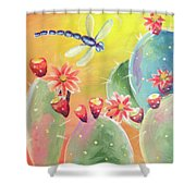 Cactus And Firefly Shower Curtain