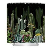 Cactus Garden At Night Shower Curtain
