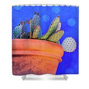 Cactus With Blue Dots Shower Curtain