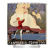 Cadenabbia Tremezzo, Golf And Tennis - Golf Club - Retro Travel Poster - Vintage Poster Shower Curtain