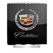 Cadillac - 3 D Badge On Black Shower Curtain