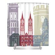 Caen Skyline Poster Shower Curtain