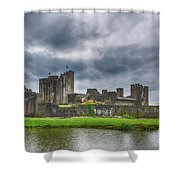 Caerphilly Castle North View 3 Shower Curtain