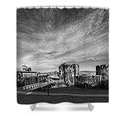 Caerphilly Castle Panorama Mono Shower Curtain