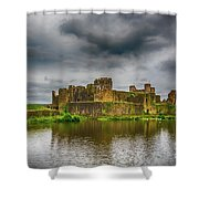 Caerphilly Castle South East View 1 Shower Curtain