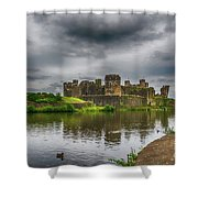 Caerphilly Castle South East View 2 Shower Curtain