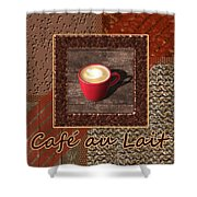 Cafe Au Lait - Coffee Art - Red Shower Curtain