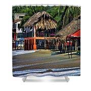 Cafe Beach Bucerias Mexico Shower Curtain