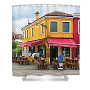 Cafe In Burano Shower Curtain