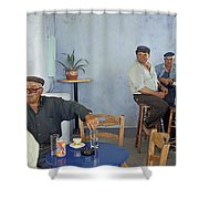 Cafe In Greece Shower Curtain