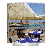Cafe In White And Purple Shower Curtain