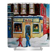 Cafe St. Viateur Montreal Shower Curtain